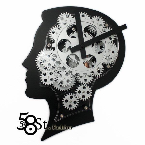 【58街】設計師款式經典鐘「特殊造型人形齒輪掛鍾,靜音」。AB-151