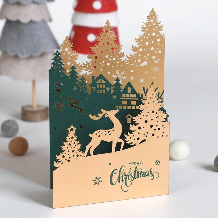 包裝紙 手工折紙 卡紙 手工藝 禮物包裝 卡片 聖誕節 伊和諾激光雕刻圣誕卡片三折剪紙圣誕賀卡商務創意立體紙雕圣誕卡