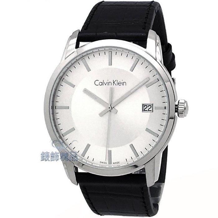 【錶飾精品】Calvin Klein K5S311C6-大 CK 銀白面層次 日期黑皮帶腕錶 全新原廠正品