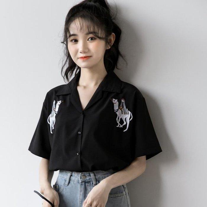 江北才子 襯衫 2020年夏季新款復古刺繡黑色襯衣港味v領短袖襯衫女學生雪紡上衣