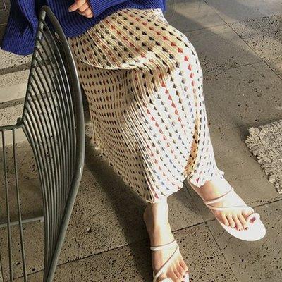 長裙 設計款不挑人彈力高腰荷葉下攞顯瘦時尚幾何圖氣質雪紡長裙 艾爾莎 【TA610229】