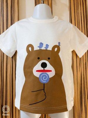 現貨岀清 日本帶回 專櫃品牌阿卡將短袖兒童T恤 100%純棉上衣 小熊 95cm