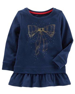 ⭐️芯希亞⭐️Oshkosh 秋冬好可愛深藍色金色蝴蝶結印花下襬荷葉拼接上衣 3T/4T《現貨》