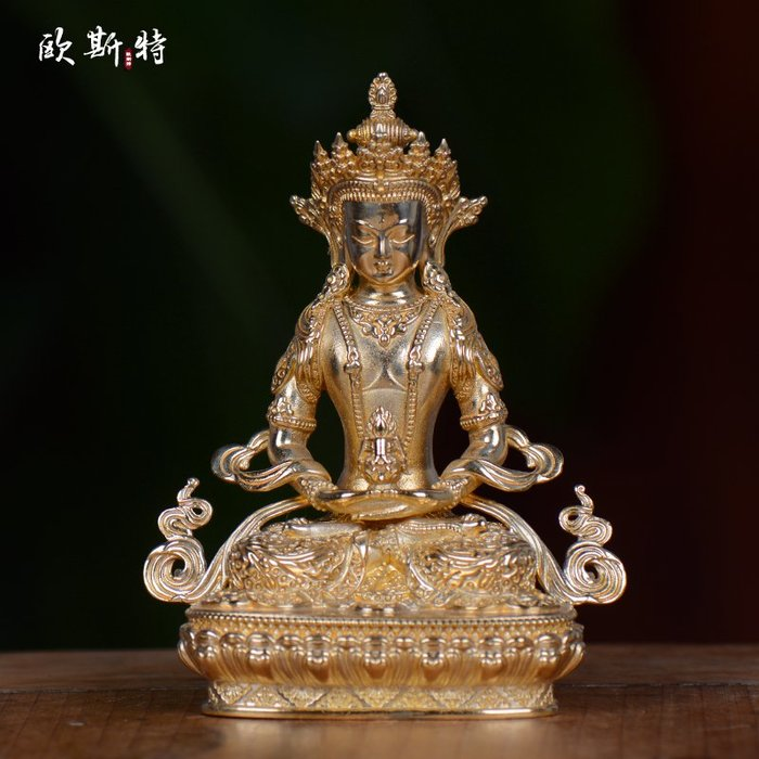 純銅佛像擺件 藏傳佛教用品居家供奉密宗佛像長壽佛 佛像 【九州風水】