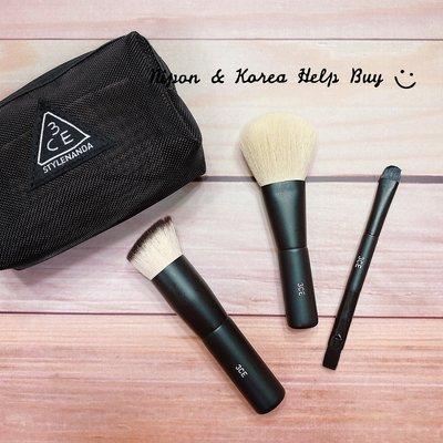 3CE 網狀化妝包刷具組 MESH BRUSH KIT 粉底刷 腮紅刷(蜜粉刷) 眼影刷 3件組 刷具 防偽標 ❤現貨❤