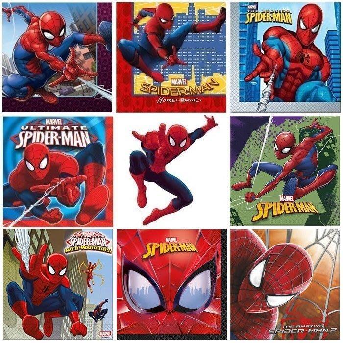 ❤Lika小舖❤英雄系列...33cm 進口餐巾紙 蝶谷巴特 蝶古巴特 Marvel 漫威英雄 蜘蛛人 蜘蛛人2