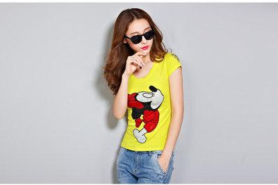 日韓服飾*米老鼠鑲鑽印花T恤(黃色)*...