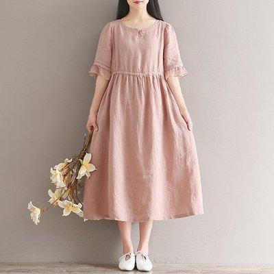 M~2XL舊粉色Q4295棉麻高腰綁帶荷葉邊五分袖短袖純色連身裙洋裝 寬鬆文青孕婦裝文藝女裝中大尺碼楚若精品批發價