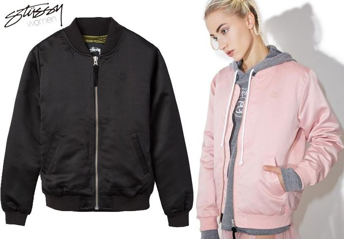【超搶手】全新正品 女裝 STUSSY UNION BOMBER MA1 保暖 飛行外套 棒球外套 黑粉紅 XS S M