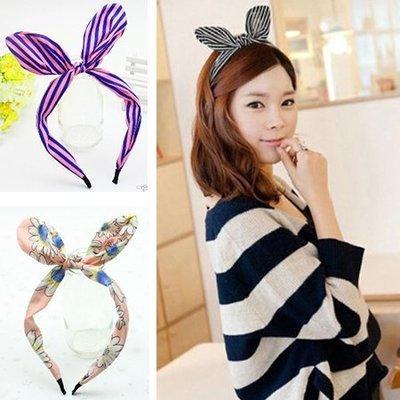 頭飾韓國蝴蝶結頭箍條紋波點兔耳朵發箍髮...