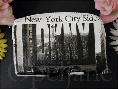 官網 美國真品保證 DKNY CASE 大LOGO圖案 紐約城市圖案自由女神 大空間拉鍊 化妝包手拿包 免運費