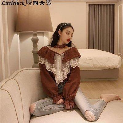 Littleluck~女裝韓國新款春季chic風甜美刺繡荷葉邊雙層領燈籠袖寬松顯瘦襯衫女潮