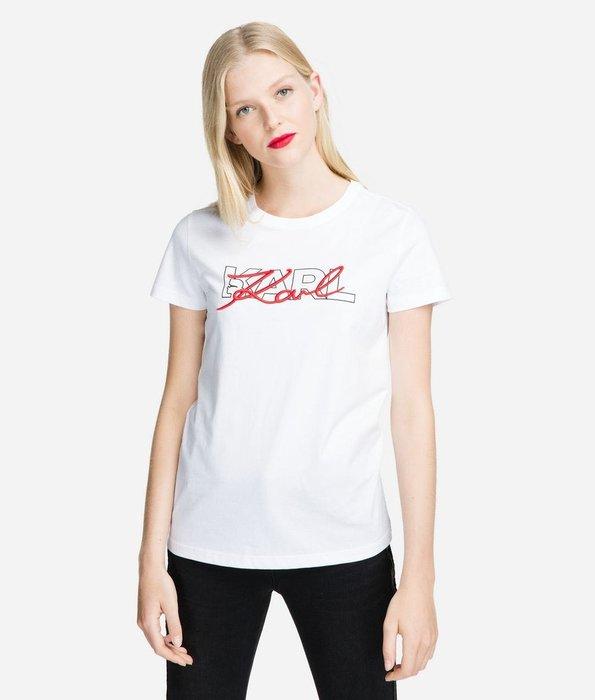 [預購XS-L] Karl Lagerfeld 女成刺繡卡爾logo短袖T恤 白/黑二色 運費優惠 其他尺寸款式可留言詢問