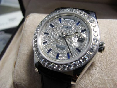 HUANT WATCH 勞力士款高級滿天星精鑽自動上鍊皮帶腕錶型號HRX820G (神梭鐘錶)