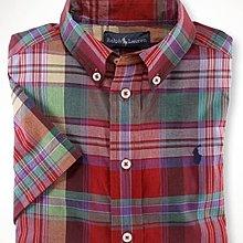 全新美國Polo Ralph Lauren紅綠格紋繡馬短袖襯衫 大童S