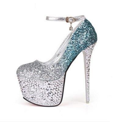 尖頭高跟鞋 水晶婚鞋-漸變色性感水鑽扣帶女鞋子4色73e15[獨家進口][米蘭精品]
