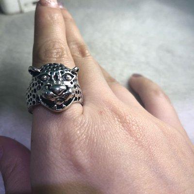 復古獨特花豹古銀戒指