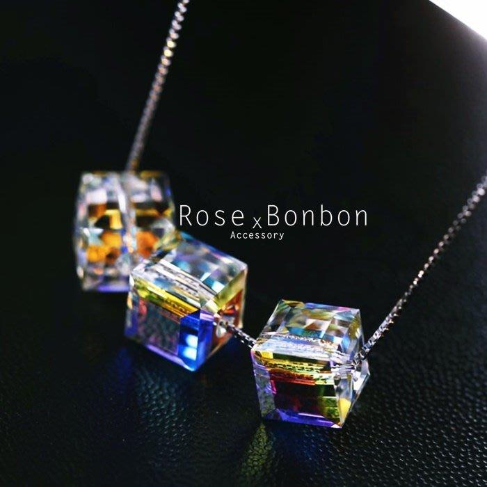 奧地利水晶 S925純銀項鍊 極光方糖鎖骨鏈  幾何方短項鍊 情人送禮Rose Bonbon G4N07