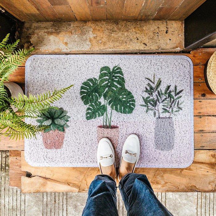 地墊 地毯 北歐綠植門口地墊 家用蹭土防滑絲圈入戶門進門蹭腳門外除灰門墊
