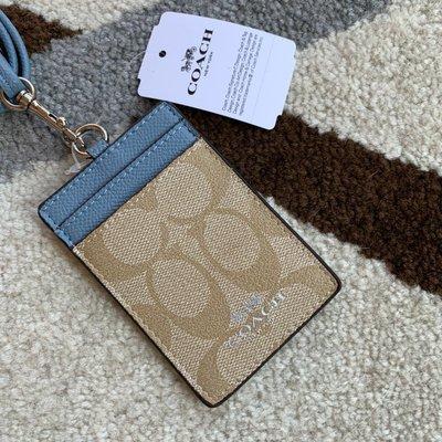 Melia 米莉亞代購 COACH 2020ss 識別證套 證件套 悠遊卡套 F26654 基本款 藍帶 基本圖案