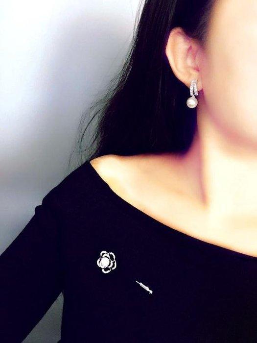 韓國純銀針珍珠氣質耳環簡約百搭長款吊墜個性耳釘耳墜短款耳飾女【Pink Q】