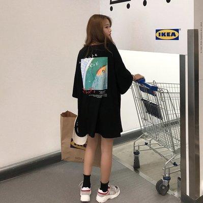 韓版夏季ulzzang原宿印花bf風中長款寬松顯瘦圓領學生 短袖T恤女