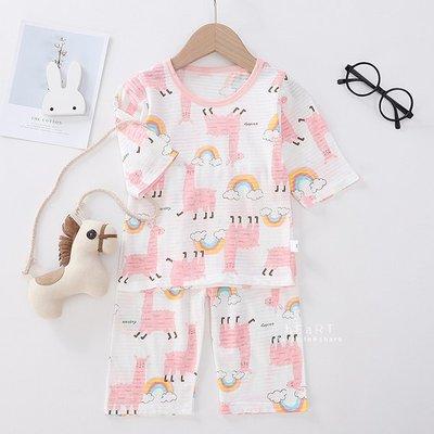 【媽媽倉庫】居家透氣七分袖睡衣套裝 可愛羊駝 童裝 T-shirt