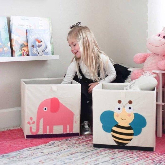 嬰朗兒童玩具衣服收納盒布藝卡通正方形格子櫃可摺疊儲物箱整理箱 卡布奇诺HM