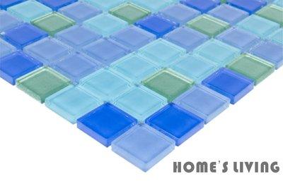 [磁磚精品HOME'S LIVING]2.3*2.3 深淺藍 綠 水晶玻璃 馬賽克 磁磚 民宿 飯店 室內裝修 設計