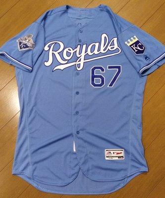 MLB大聯盟堪薩斯城皇家隊王建民粉藍實戰球衣-附大聯盟認證-可以交換實戰球衣
