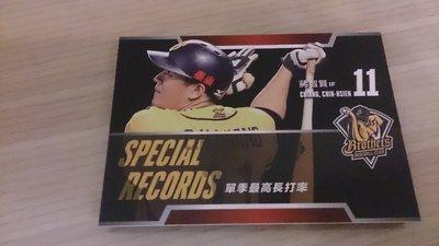 2016 中華職棒年度球員卡 特殊紀錄 中信兄弟 蔣智賢 單季最高長打率 324 10元起標