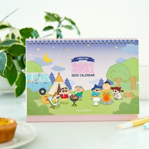 ❅PAVEE❅韓國Flying Whales~ 2021 Crayon Shinchan 蠟筆小新 可立式桌曆月行事曆
