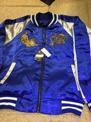 [変身館日本精品服飾]~SEKU~龍~虎~橫須賀~緞面~刺繡~外套~夾克~日本購入~全新商品~現品~L~雙面穿