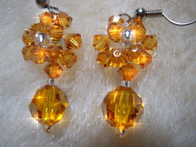 ※水晶玫瑰※ SWAROVSKI 地球珠水晶 耳勾式耳環(DD433)