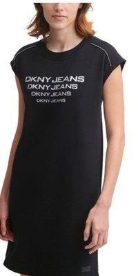 DKNY Jeans Logo Cap-Sleeve Beaded-Shoulder Sneaker Dres