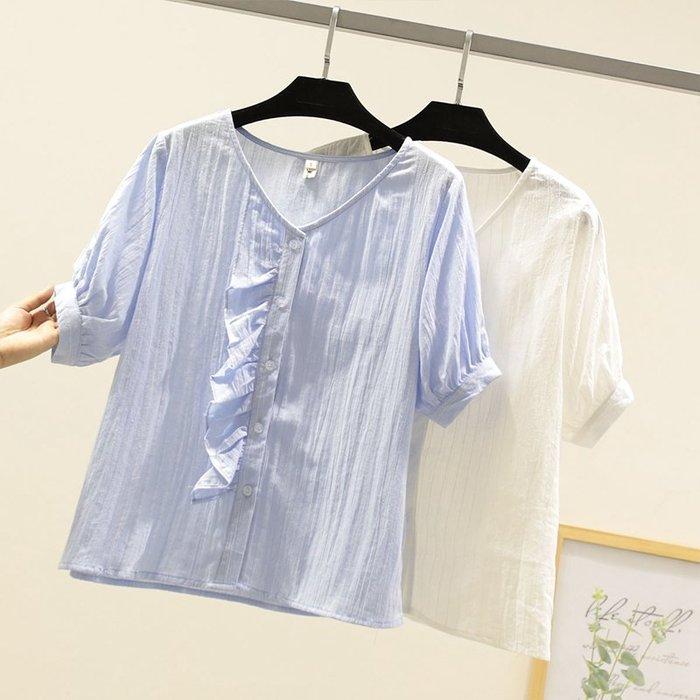 ☂ 糖糖 ☂ V領木耳邊泡泡袖短袖襯衫-S19051813