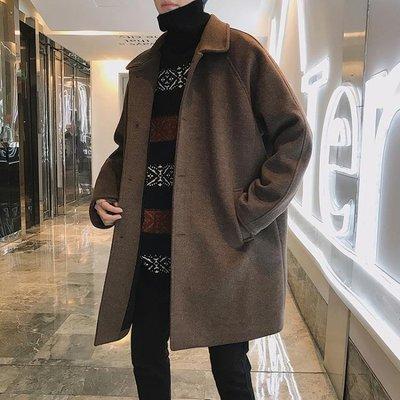 冬季新款ins中長款帥氣加厚風衣男士韓版英倫寬鬆毛呢大衣外套潮