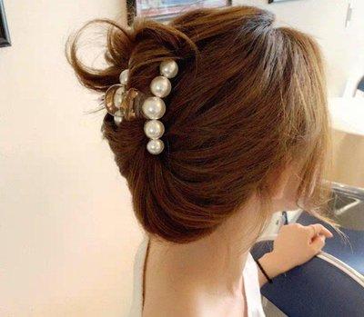 氣質珍珠抓夾 髮夾 小款 7公分現貨...