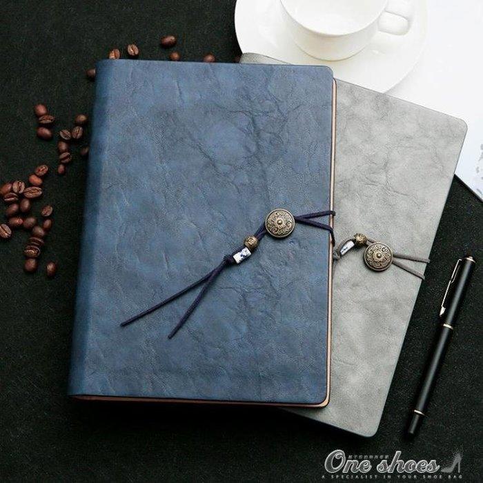 創意復古筆記本文具簡約活頁商務辦公會議高檔記事日記本子厚