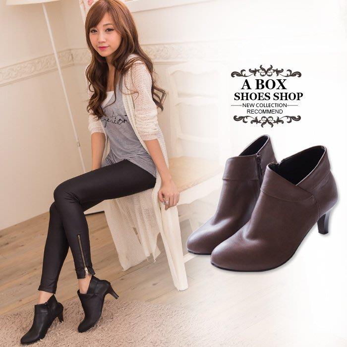 格子舖*【KW6879】MIT台灣製 嚴選韓版絕美女神 質感皮革 細跟顯修長反摺踝靴短靴 2色