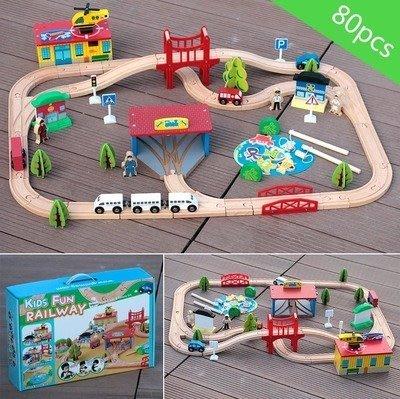 【興達生活】韓國木質托馬斯69片軌道車電動小火車套裝 木制兒童益智拼裝玩具