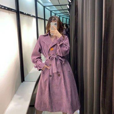 [ ohya梨花 ] =韓國帶回=最新秋冬新款性感質感名媛穿搭紫色排扣風衣造型長大衣外套
