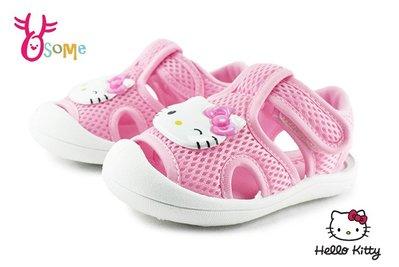 Hello kitty 凱蒂貓 小童 寶寶涼鞋 網布透氣 卡通 魔鬼氈 MIT H6044#粉紅 OSOME奧森鞋業