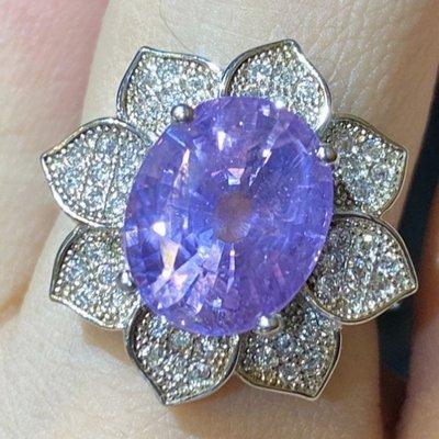 GIA錫蘭天然無燒斯里蘭卡無處理紫色藍寶石5.88克拉鑽戒~附GIA+聯合寶石鑑定書