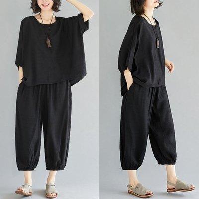 中大尺碼套裝 大尺碼女裝胖mm最愛夏裝純色減齡套裝寬鬆文藝亞麻燈籠褲兩件套顯瘦