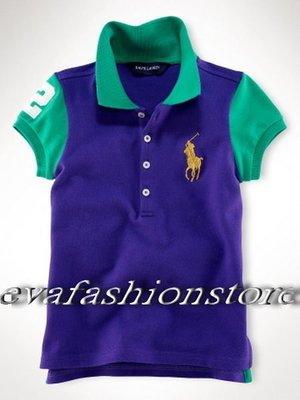 【USA美國精品時尚小舖】Polo Ralph Lauren 小女童美麗繡數字2金馬紫色POLO衫
