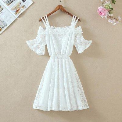 連身裙 夏季白色收腰顯瘦修身a字裙中長款一字肩打底吊帶蕾絲連身裙女裝