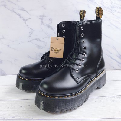 Dr.Martens 馬丁鞋 馬汀鞋 經典1460 8孔 厚底  黑色 硬皮【 BRITISH LOOK 】
