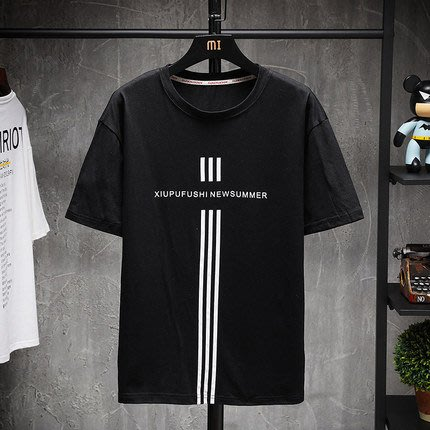 [C.M.平價精品館]M~5XL簡單有型顯高顯瘦圓領棉質短袖T恤  黑白兩色可選  加大碼