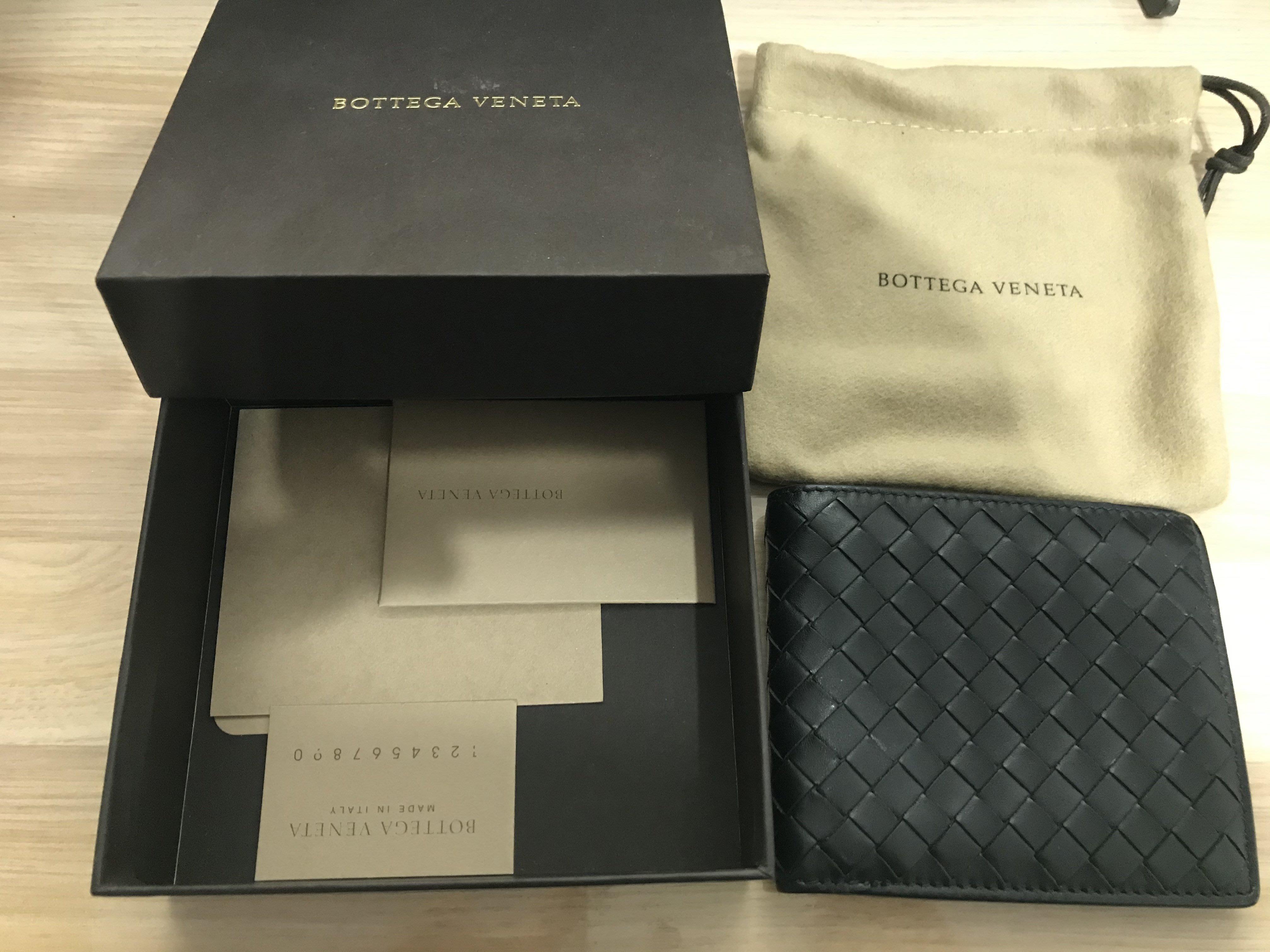 BV BOTTEGA VENETA 經典編織設計4卡小牛皮對折短夾(黑)